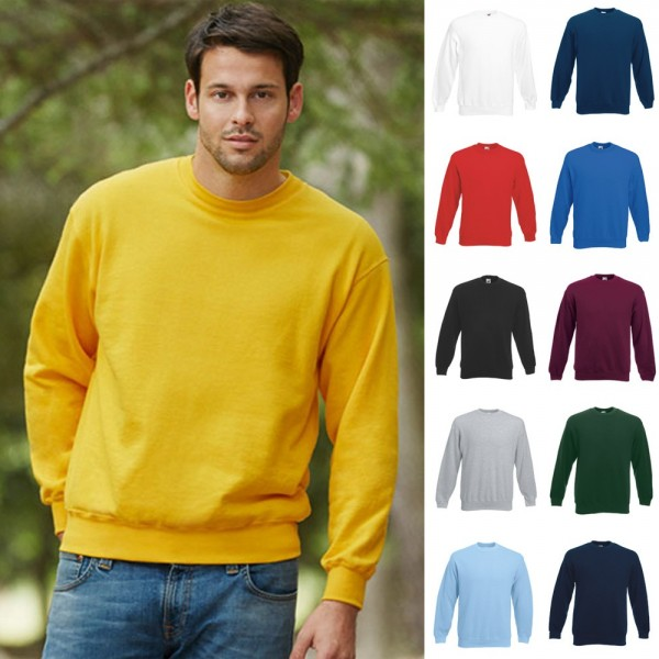 Herren Mann Sweatshirt Pullover Pulli Fruit of the loom Set-In Sweatshirt 80/20