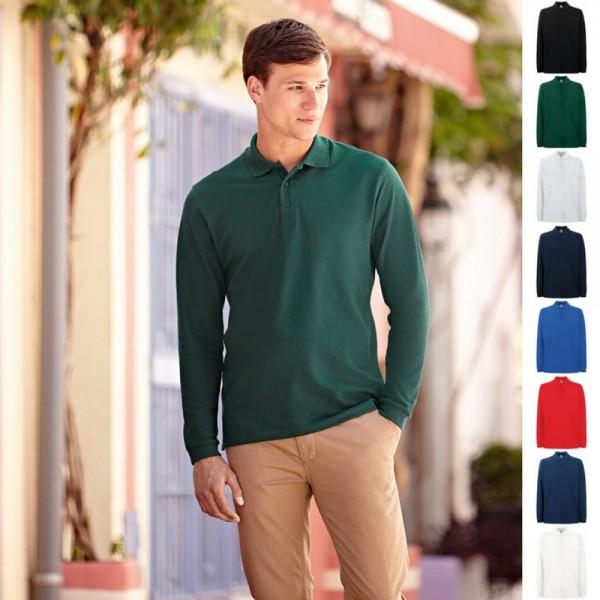 Herren Mann Long Sleeve Polo Lang Fruit of the loom Premium Langarm Poloshirt