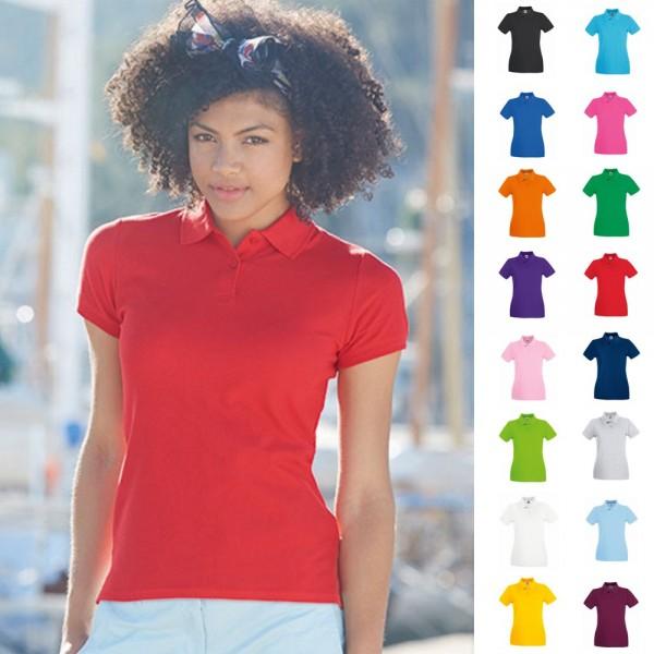 Lady Fit Damen Frau Polo Shirt Fruit of the loom Premium Baumwolle Poloshirt