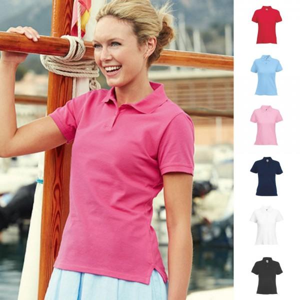 Lady Fit Damen Premium Polo Poloshirt T-Shirt Fruit of the loom mit Elastan