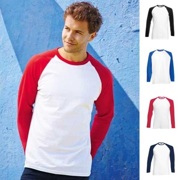 Herren Mann Men Baseball Longsleeve Lang Long Langarm T-Shirt Fruit of the loom