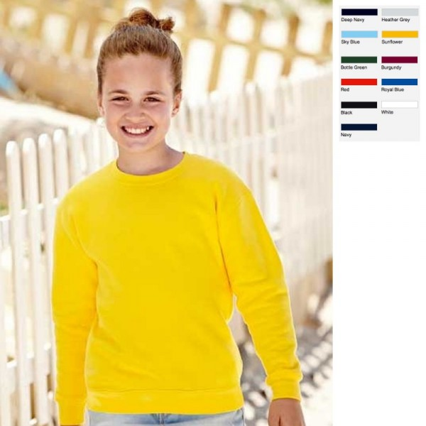 KIDS KINDER SWEATSHIRT SET-IN SWEAT 80/20 FRUIT OF THE LOOM 11 FARBEN 104-164