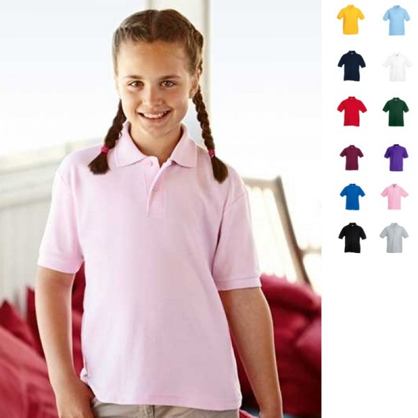 Kinder Kids Poloshirt Polo 65/35 T-Shirt Polohemd Fruit of the loom Kind UNISEX