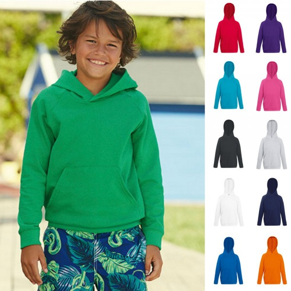 Kinder Kids Kapuzensweat Sweat Fruit of the loom Kapuzensweatshirt Lightweight