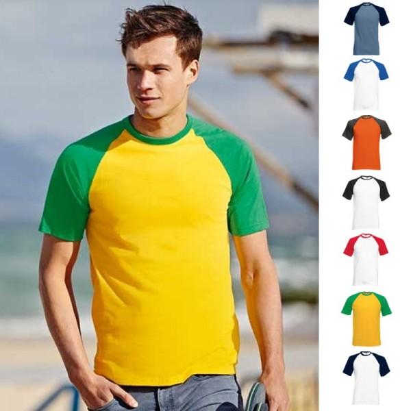 Herren Mann Shortsleeve Kurz Rundhals T-Shirt Fruit of the loom Baseball Kurzarm