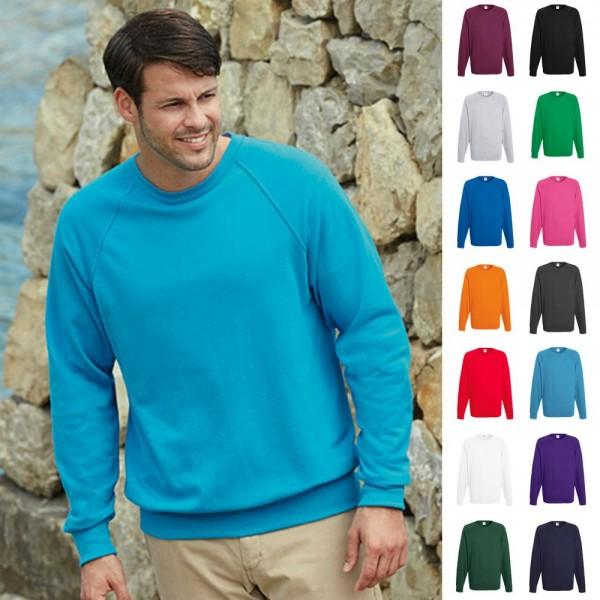 Sweatshirt Sweat Pulli Raglan Herren Mann Pullover Fruit of the loom Lightweight