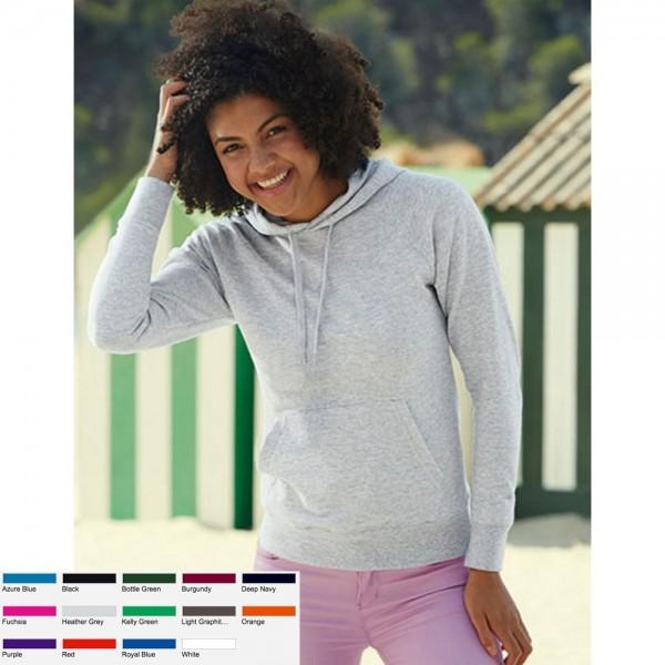 Lady Hooded Sweatshirt Sweat Fruit of the loom Damen Kapuzensweat Lightweight