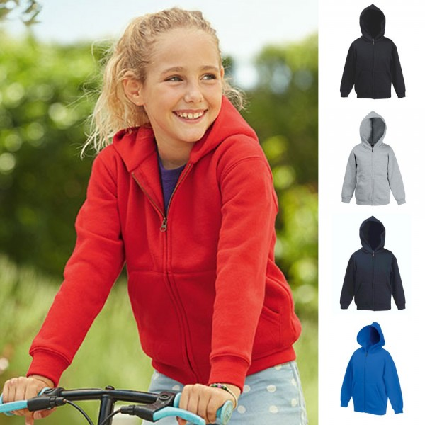 Kinder Kids Kapuzenjacke Hooded Sweatjacke Sweat 70/30 Fruit of the loom Premium