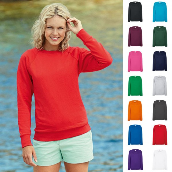 Damen Lady Fit Sweatshirt Sweat Raglan Pullover Fruit of the loom Lightweight