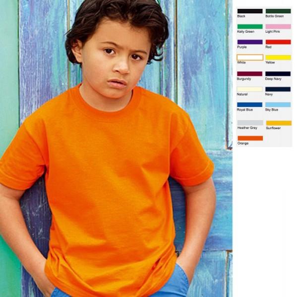 Kinder Kids Junge Mädchen Shirt T-Shirt Fruit of the loom Value Valueweight
